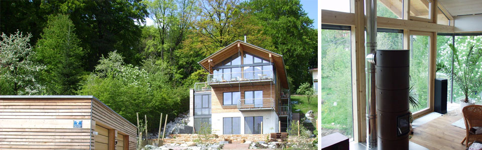 Ansicht von Süden, Wohnzimmerfenster mit Holzofen