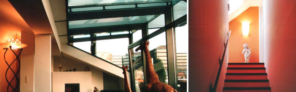 Innenansicht Glasgaube, Treppenaufgang