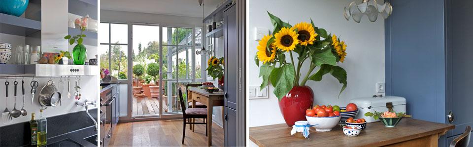 Küche mit direktem Zugang zu 40m2 Terrasse (Fotos: Winfried Heinze)