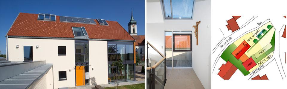 Eingang, Treppenhaus (Fotos: Klaus-Reiner Klebe) und Lageplan