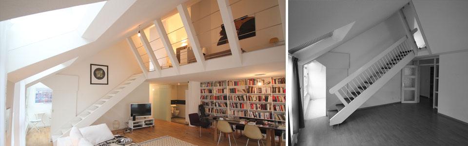 Wohn- und Schlafbereich mit Galerie vorher / nachher