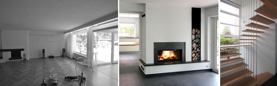 Wohnzimmer vorher und nachher (Kaminofen und Durchgang zur Küche)